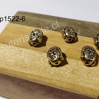 Separador cabeza de buda dorado 10 mm de alto por 9 mm de ancho, set de 5 unidades