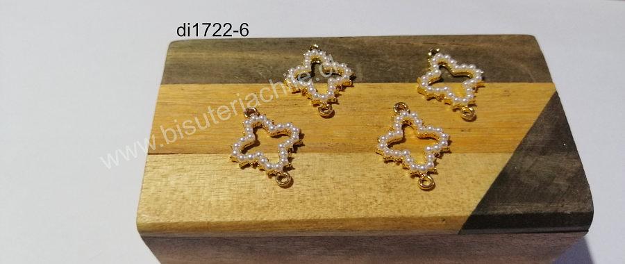 Dije doble conexión dorado con aplicación, 22 x 16 mm, set de 4 unidades
