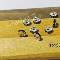 Separador con strass verdes, de 6 mm, set de 10 unidades