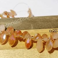 cristal en forma de gota, facetado color damasco, 12 mm de largo por 6 mm de ancho, set de 10 unidades