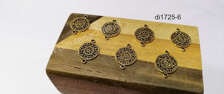 Dije dorado doble conexión, 20 x 10 mm, set de 7 unidades