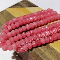 Agatas, Agata rondell facetada rosada de 6, tira de 88 piedras aprox.