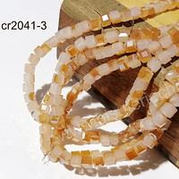 Cristal cuadrado de 4 mm, naranjo y crema tornasol, tira de 99 cristales