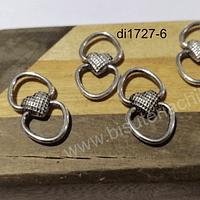 Dije plateado doble conexión, 25 x 13 mm, set de 5 unidades