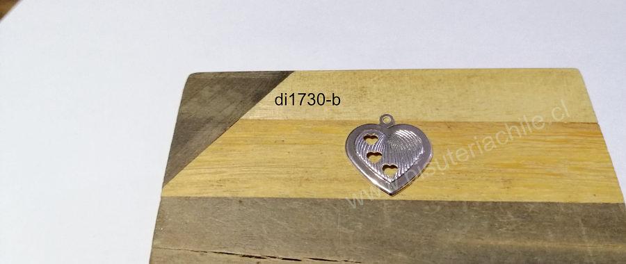 Dije plateado en forma de corazón, 20 x 21 mm, por unidad. San Valentin