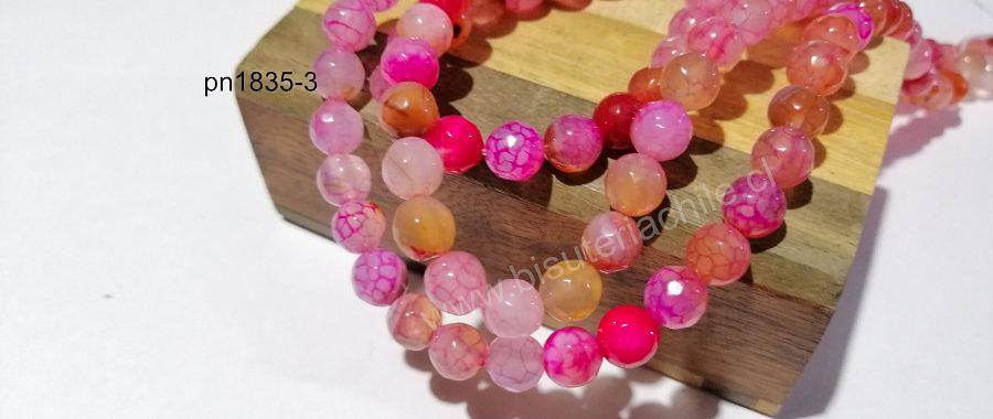 Agatas, Agata facetada en tonos rosados de 8 mm, tira de 46 piedras aprox.