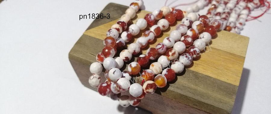 Agatas, Agata de 7 mm, en tono naranjo y blanco jaspeado, tira de 58 piedras aprox