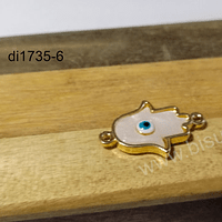 Dije de nacar, mano de hamsa con ojo turco, en vade plateado, doble conexión, 24 x 15 mm, por unidad