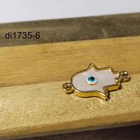 Dije de nacar, mano de hamsa con ojo turco, en base dorado, doble conexión, 24 x 15 mm, por unidad