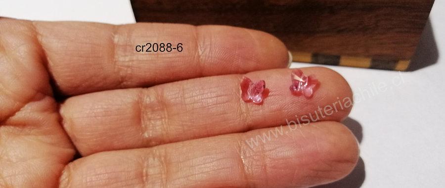 Separador cristal austriaco en forma de mariposa, en color rosado, 6 x 6 mm, por par