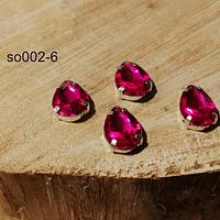 Cristal soutache rosado fuerte con aplicación metálica plateada, 14 x 10 mm, set de 4 unidades