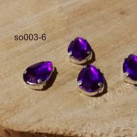 Cristal soutache morado con aplicación metálica plateada, 14 x 10 mm, set de 4 unidades