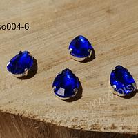 Cristal soutache azul con aplicación metálica plateada, 14 x 10 mm, set de 4 unidades