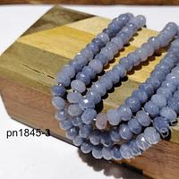 Agatas, Agata rondell facetada gris de 6, tira de 88 piedras aprox.