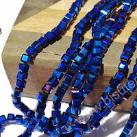 Cristal cuadrado de 4 mm, azul metálico brillante, tira de 99 cristales aprox.