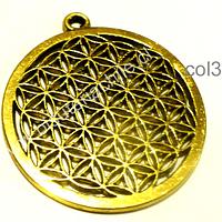 Colgante dorado flor de la vida, 39 mm de diámetro, por unidad