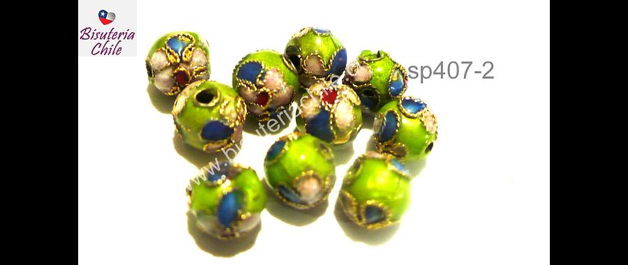 Perla española 8 mm en tonos verdes, set de 6 unidades