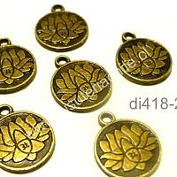 Dije envejecido con flor de loto y om, 15 mm de diámetro, set de 6 unidades