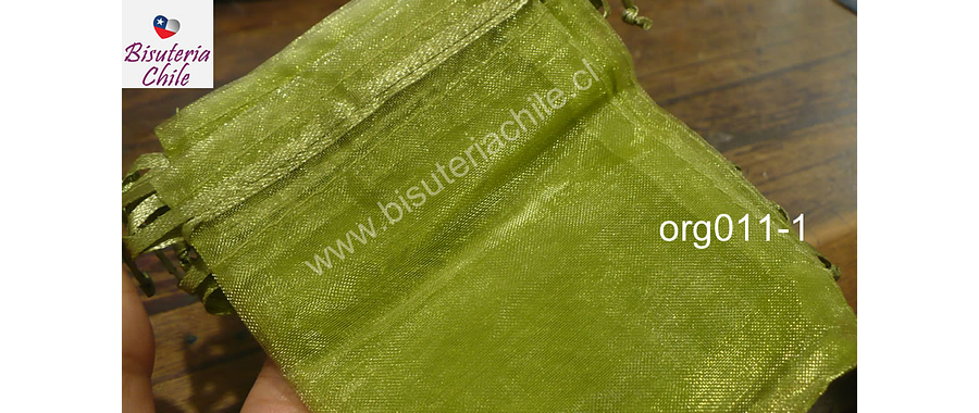 Bolsa de organza verde musgo, 9 x 12 , set de 10 unidades
