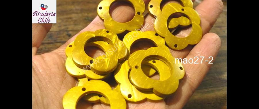 Cuenta de madera amarillo doble conexión 30 mm de diámetro, set de 10 unidades aprox.