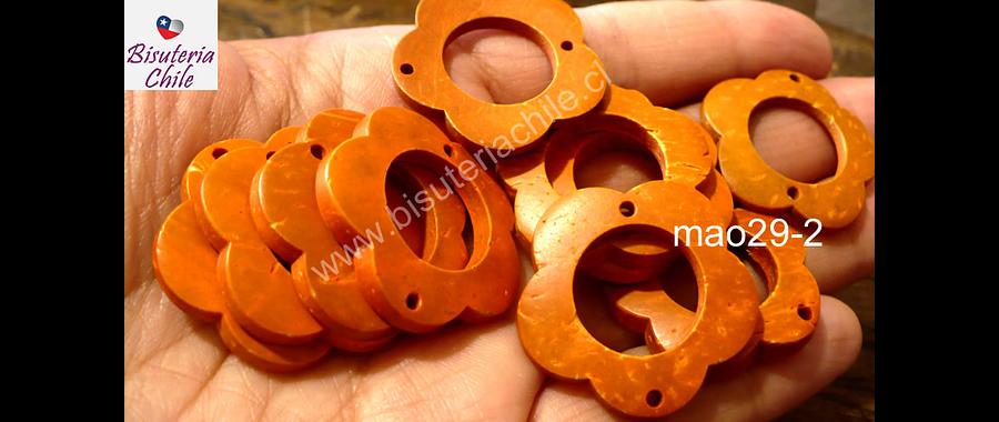 Cuenta de madera naranja doble conexión 30 mm de diámetro, set de 10 unidades aprox.