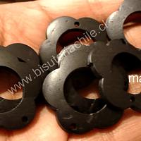 flor de madera negro doble conexión 30 mm de diámetro, set de 10 unidades aprox.