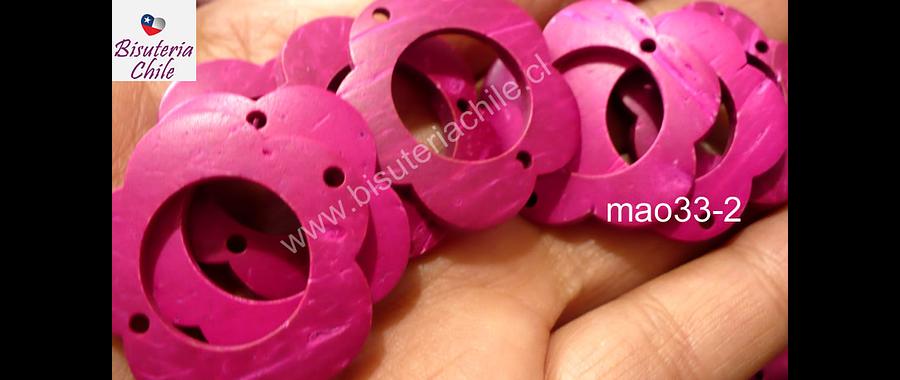 flor de madera fucsia doble conexión 30 mm de diámetro, set de 10 unidades aprox.