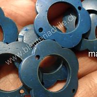flor de madera azul doble conexión 30 mm de diámetro, set de 10 unidades aprox.