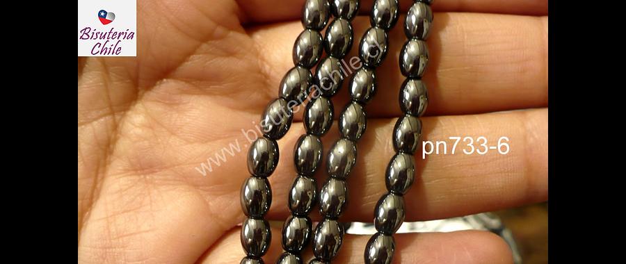 Hematite negra no imantada en forma de arroz, 6 x 5 mm, tira de 60 piedras aprox