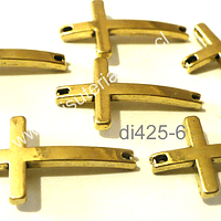 Dije cruz dorado doble conexión, 25 mm de largo por 14 mm de ancho, set de 6 unidades