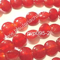 Vidrio Hindu rojo, de 15 mm de diámetro, tira de 20 cuentas
