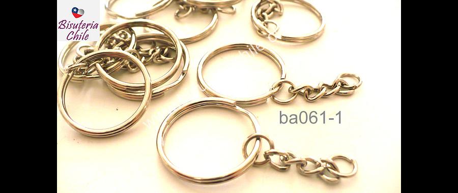 Base llavero simple con cadena plateado, 28 mm de diámetro, set de 10 unidades