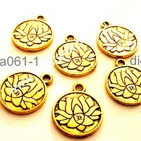 Dije dorado con flor de loto y om, 15 mm de diámetro, set de 6 unidades