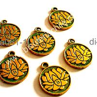 Dije dorado turquesa con flor de loto y om, 15 mm de diámetro, set de 6 unidades