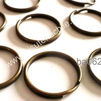 Base llavero simple con cadena color envejecido, 28 mm de diámetro, set de 10 unidades