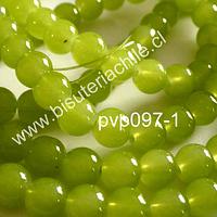 Perla de vidrio color verde limón 8 mm, tira de 100 unidades aprox