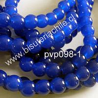 Perla de vidrio color azul 8 mm, tira de 100 unidades aprox