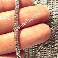 Cadena Plateada, 3 mm de ancho, por metro