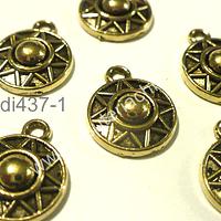 Dije dorado, 12 mm de diámetro, set de 6 unidades