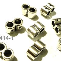 Separador plateado doble especial para cuero, 9 mm x 5 mm, set de 10 unidades