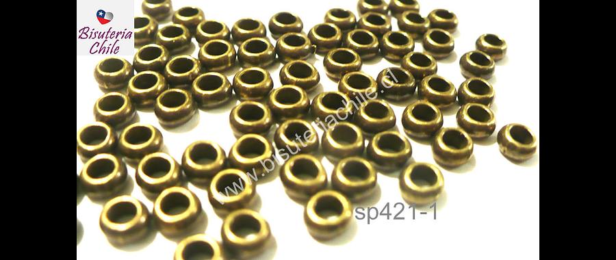 Separador envejecido, 4 mm de diámetro 2 mm de ancho, agujero de 2,5 mm, set de 30 unidades aprox