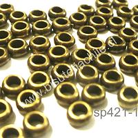 Separador envejecido, 4 mm de diámetro 2 mm de ancho, agujero de 2,5 mm, set de 34 unidades aprox