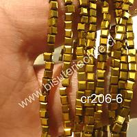 Cristal chino facetado dorado cuadrado, 2 mm, tira de 200 cristales aprox.
