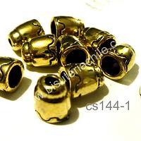 Casquete dorado, 9 mm de largo x 8 mm de ancho, agujero de 4 mm, set de 10 unidades