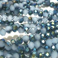 Cristal chino facetado de 4 mm color celeste y azul, tira de 150 unidades aprox