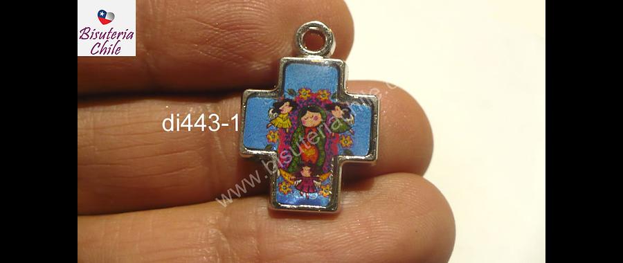 Dije esmaltado virgen en forma de cruz, 17 x 17 mm, por unidad