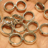 Separador plateado en forma de circulo con doble perforación 11 mm de diámetro, set de 14 unidades