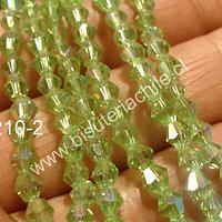 Cristal tupi 4 mm, color verde claro transparente, tira de 75 cristales