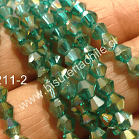 Cristal tupi 4 mm, color verde esmeralda transparente, tira de 78 cristales