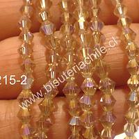 Cristal tupi 4 mm, color amarillo transparente, tira de 70 cristales